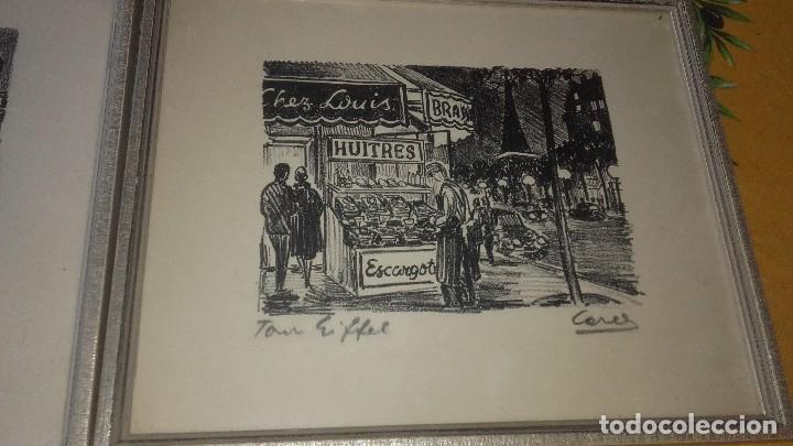 Arte: Lote de 2 dibujos enmarcados,le moulin rouge y chez louis,firmados,cores. - Foto 3 - 89095828