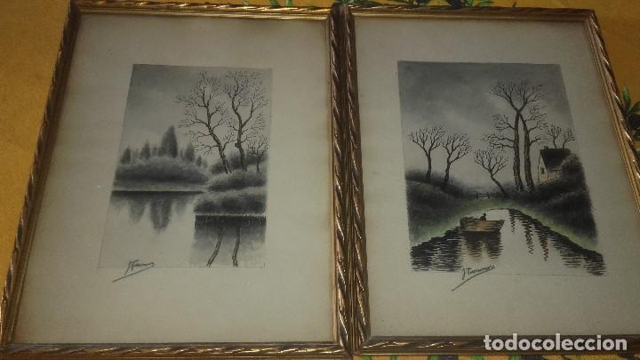 Arte: Lote de 3 dibujos,2 enmarcados carboncillo,paisajes,firmados, - Foto 2 - 89095984