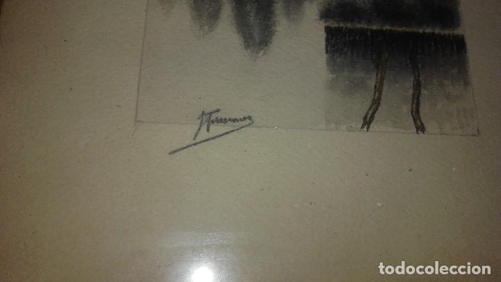 Arte: Lote de 3 dibujos,2 enmarcados carboncillo,paisajes,firmados, - Foto 3 - 89095984