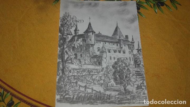 Arte: Lote de 3 dibujos,2 enmarcados carboncillo,paisajes,firmados, - Foto 4 - 89095984