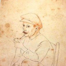 Arte: HOMBRE CON PIPA. GRAFITO SOBRE PAPEL. ACUARELA. ESPINAL(?). ESPAÑA. CIRCA 1920. Lote 89192072