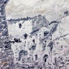 Arte: CALLE DE RUPIT. GRAFITO SOBRE PAPEL. FIRMADO AVELLANEDA. ESPAÑA. 1928. Lote 89193548