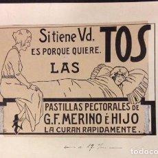 Arte: PROPAGANDA, PASTILLLAS G.F. MERINO E HIJO, DIBUJO ORIGINAL. Lote 89348664