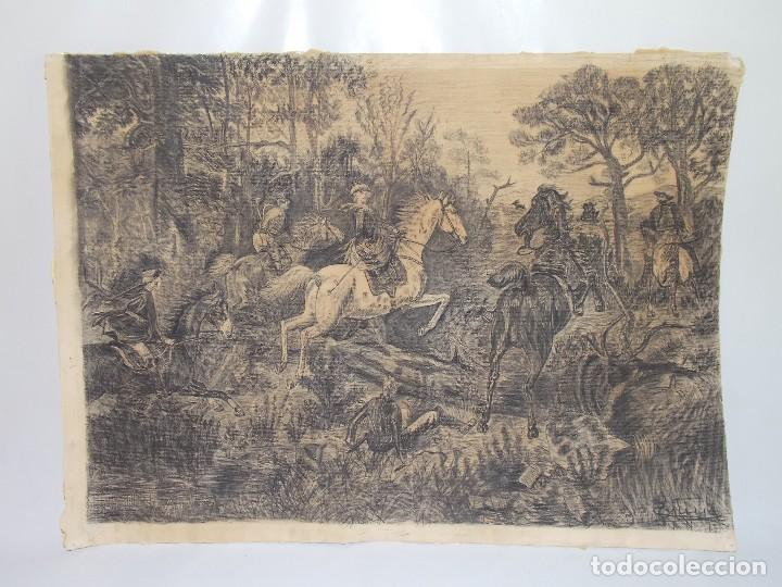 ANTIGUO DIBUJO CARBONCILLO FIRMADO CAZA CON CABALLOS // DRAWING CHARCOAL HUNTING HORSERS (Arte - Dibujos - Modernos siglo XIX)
