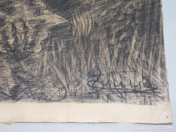Arte: antiguo dibujo carboncillo firmado caza con caballos // Drawing charcoal hunting horsers - Foto 2 - 89492612