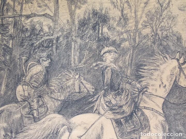 Arte: antiguo dibujo carboncillo firmado caza con caballos // Drawing charcoal hunting horsers - Foto 3 - 89492612