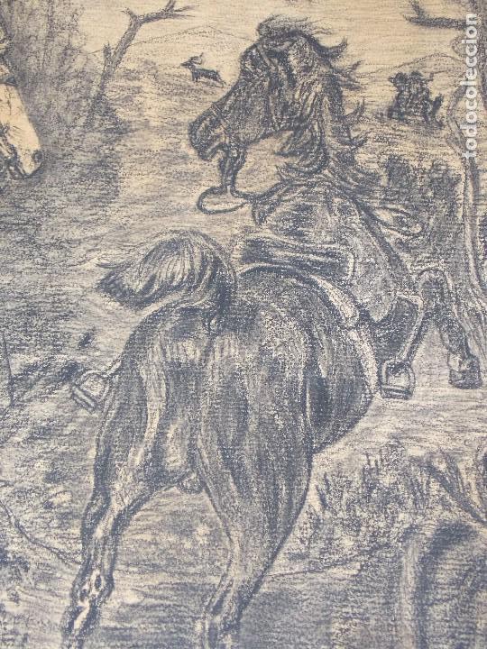 Arte: antiguo dibujo carboncillo firmado caza con caballos // Drawing charcoal hunting horsers - Foto 4 - 89492612