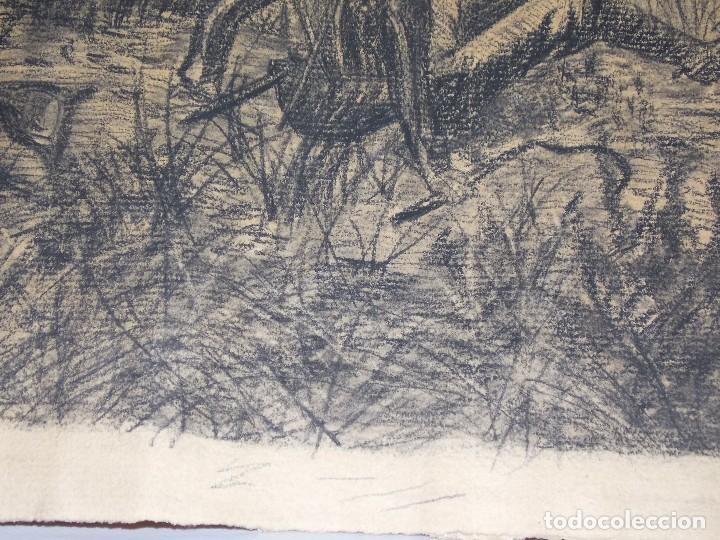 Arte: antiguo dibujo carboncillo firmado caza con caballos // Drawing charcoal hunting horsers - Foto 5 - 89492612