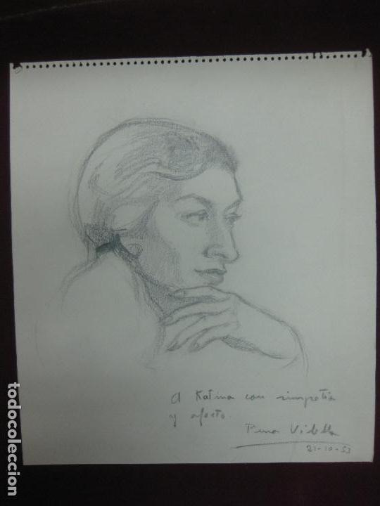 DIBUJO A LAPIZ CON DEDICATORIA DE PURA VILELLA. INTEGRANTE DEL GRUPO LA BUHARDILLA 54 . (Arte - Dibujos - Contemporáneos siglo XX)