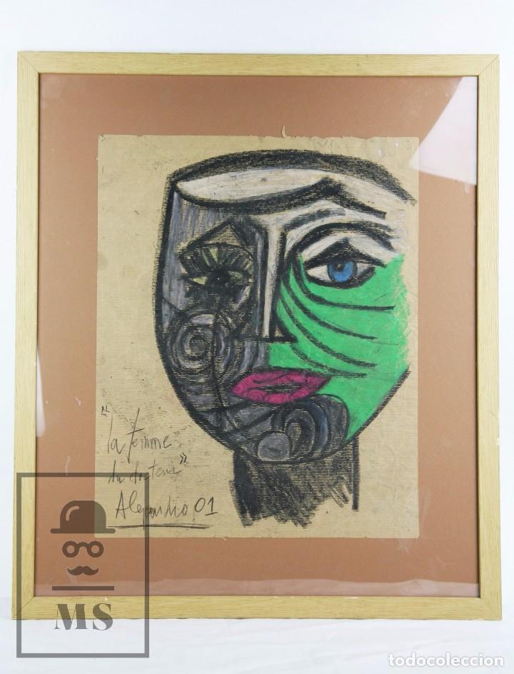 DIBUJO CON CERAS / LÁPICES DE COLORES SOBRE PAPEL KRAFT - LA FEMME DU DOCTEUR - ALEJANDRO, 2001 / 01 (Arte - Dibujos - Contemporáneos siglo XX)