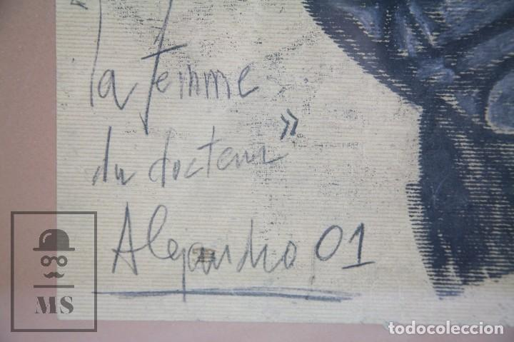 Arte: Dibujo con Ceras / Lápices de Colores Sobre Papel Kraft - La Femme du Docteur - Alejandro, 2001 / 01 - Foto 3 - 90334232