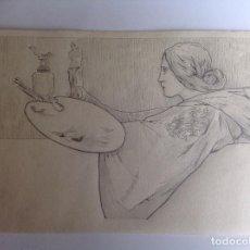 Arte: ANÓNIMO. DIBUJO ART NOUVEAU. ALEGORÍA DE LA PINTURA Y LA ESCULTURA.. Lote 90855685