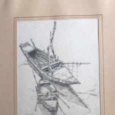 Art: DIBUJO A LÁPIZ DE JOSÉ DUARTE , TÍTULO BARCAS DE ALBUFERA. . Lote 91064730