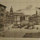 Arte: LÁMINA DE LA PLAZA DE LA VIRGEN BLANCA (VITORIA); INAUGURACIÓN DE LA CAJA DE AHORROS DE VIZCAYA. Lote 91587540