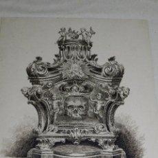 Arte: (M) DIBUJO A PLUMILLA S.XIX , CALAVERA , ENMARCO DE EPOCA , 42 X 34 CM , DIBUJO 23 X 18'5 CM. Lote 91936325