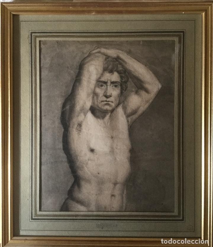 DIBUJO ANTIGUO. SIGLO 19.ACADEMIA HOMBRE (Arte - Dibujos - Modernos siglo XIX)