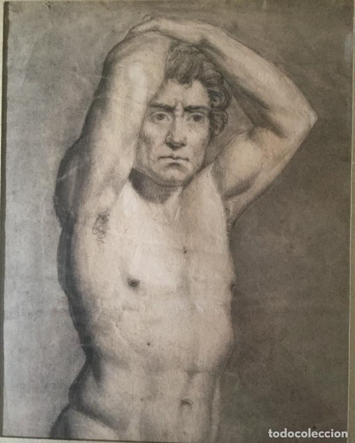 Arte: Dibujo antiguo. Siglo 19.Academia hombre - Foto 2 - 92171420