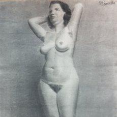 Arte: FRANCISCO AVECILLA. ANTIGUO DIBUJO A CARBONCILLO, DESNUDO FEMENINO. MUJER POSANDO. 47X63CM. Lote 92440672