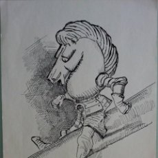 Arte: DIBUJO ORIGINAL A TINTA ALICIA EN EL PAÍS DE LAS MARAVILLAS, COPIA AÑOS 60, LEWIS CARROLL . Lote 92716335