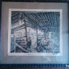 Arte: OBRA ORIGINAL DE JOSEP COSTA REPRESENTANDO UNA FAMOSA POBLACIÓN DE LA PLANA DE VIC. Lote 92817425