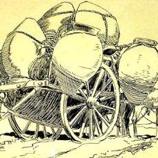Arte: PORTEADOR DE TINAJAS CON CARRO. DIBUJO A PLUMILLA SOBRE PAPEL. PASSOS VALERO. ESPAÑA 1890. Lote 92916060