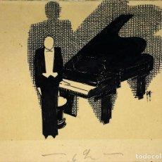 Arte: PIANISTA. DIBUJO A PLUMILLA Y TINTA SOBRE PAPEL. FIRMADO. ESPAÑA. CIRCA 1920. Lote 92917100