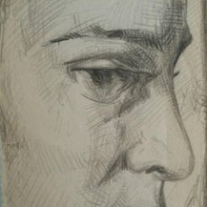 Arte: DIBUJO DE ROSTRO AÑOS 30, 40, LÁPIZ SOBRE PAPEL, MODERNISTA, ART DECO. Lote 92998085
