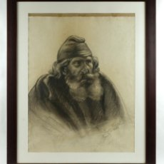 Arte: DIBUJO AL CARBONCILLO RETRATO ANCIANO FIRMADO JOSEPHA BRUNNET 1917. Lote 93088105
