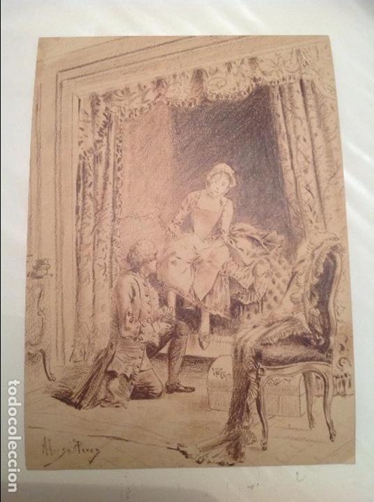 MARIANO ALONSO PEREZ. ESCENA. (Arte - Dibujos - Modernos siglo XIX)