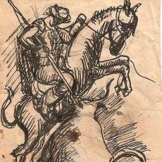 Arte: TAUROMAQUIA A PLUMILLA DE TORO CON PICADOR.PINTOR ARAGONÉS MANUEL LAHOZ VALLE.ESCENA TAURINA.. Lote 93141835