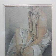 Arte: VIDAH ROBERTS, DESNUDO FEMENINO, DIBUJO EN CARBONCILLO Y PASTEL. GRAN CALIDAD. ENMARCADO.. Lote 93187587
