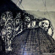 Arte: TRES DIBUJOS TENEBRISTAS. ACUARELA Y TINTA SOBRE PAPEL. FIRMA DESCONOCIDA. ESPAÑACIRCA 1950. Lote 93266820