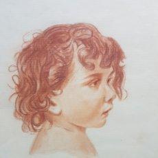 Arte: PRECIOSO DIBUJO, RETRATO DE NIÑO, FIRMADO EN EL ANGULO INFERIOR DERECHO. 31X49CM. Lote 93346263