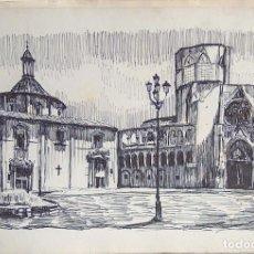 Arte: DIBUJO TINTA ROTULADOR, FIRMADO J LORCA, PLAZA VIRGEN VALENCIA, CATEDRAL.... Lote 93626310