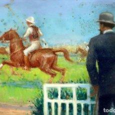 Arte: PARTIDO DE POLO. PASTEL SOBRE PAPEL. FIRMADO F.R. SEGURA (MONFORTE?). ESPAÑA. FIN XIX. Lote 93996015