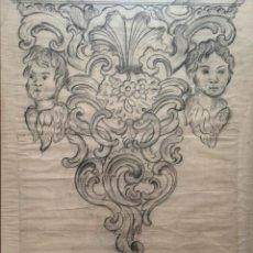 Arte: MANUEL ARELLANO. DIBUJO A GRAFITO DE UNA MÉNSULA, 1889. Lote 94084605