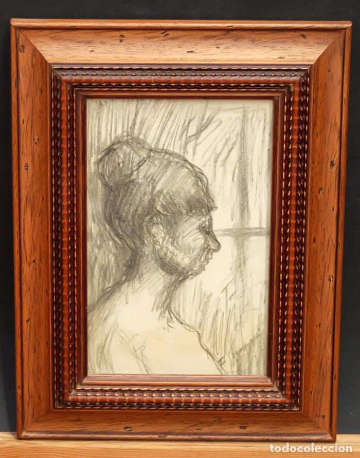 FRANCESC GIMENO ARASA (TORTOSA, 1858 - BARCELONA, 1927) DIBUJO A CARBÓN. PERFIL FEMENINO (Arte - Dibujos - Contemporáneos siglo XX)