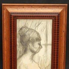 Arte: FRANCESC GIMENO ARASA (TORTOSA, 1858 - BARCELONA, 1927) DIBUJO A CARBÓN. PERFIL FEMENINO. Lote 94221090