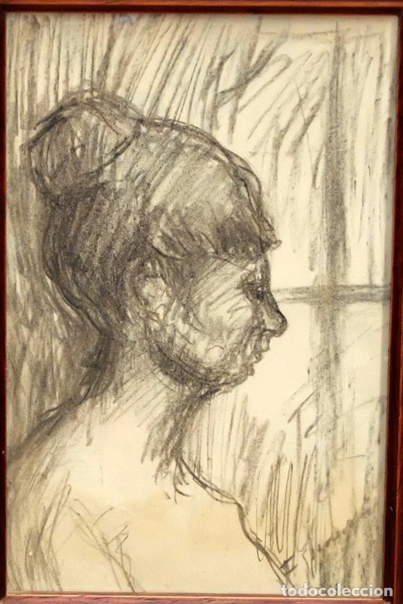 Arte: FRANCESC GIMENO ARASA (TORTOSA, 1858 - BARCELONA, 1927) DIBUJO A CARBÓN. PERFIL FEMENINO - Foto 2 - 94221090