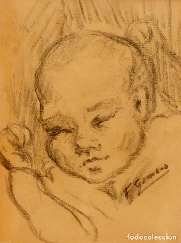 FRANCESC GIMENO ARASA (TORTOSA, 1858 - BARCELONA, 1927) DIBUJO A CARBÓN. EL HIJO DEL ARTISTA (Arte - Dibujos - Contemporáneos siglo XX)