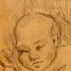 Arte: FRANCESC GIMENO ARASA (TORTOSA, 1858 - BARCELONA, 1927) DIBUJO A CARBÓN. EL HIJO DEL ARTISTA. Lote 94222810