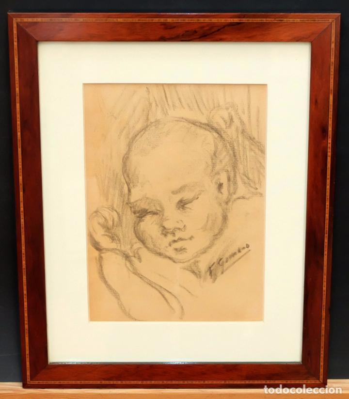 Arte: FRANCESC GIMENO ARASA (TORTOSA, 1858 - BARCELONA, 1927) DIBUJO A CARBÓN. EL HIJO DEL ARTISTA - Foto 2 - 94222810