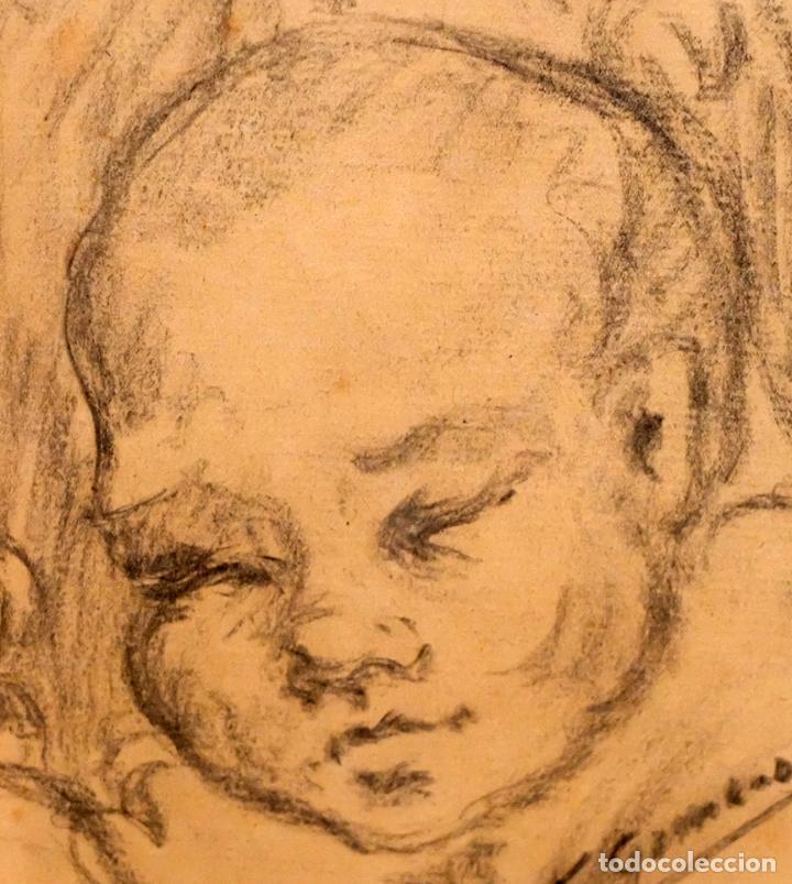 Arte: FRANCESC GIMENO ARASA (TORTOSA, 1858 - BARCELONA, 1927) DIBUJO A CARBÓN. EL HIJO DEL ARTISTA - Foto 3 - 94222810