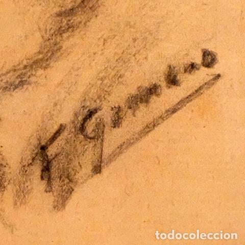 Arte: FRANCESC GIMENO ARASA (TORTOSA, 1858 - BARCELONA, 1927) DIBUJO A CARBÓN. EL HIJO DEL ARTISTA - Foto 5 - 94222810
