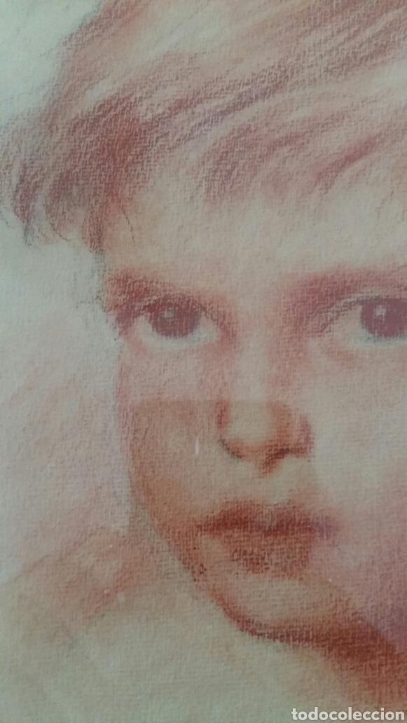 RETRATO NIÑO. RETRATO NIÑA. PAREJA DE RETRATOS A SANGUINA. LÁPIZ SANGUINA. DIBUJO. (Arte - Dibujos - Contemporáneos siglo XX)