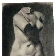 Arte: DIBUJO DE DESNUDO FEMENINO PINTADO AL CARBONCILLO.. Lote 91261265