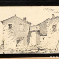 Arte: ILEGIBLE FECHADO DEL 1937. DIBUJO A CARBON. PAISAJE RURAL. Lote 94299194
