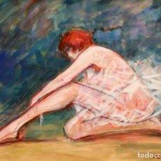 Arte: PERE YSERN ALIÉ (BARCELONA, 1875 – 1946) GOUACHE SOBRE PAPEL FIRMADO. BAILARINA. Lote 94316018