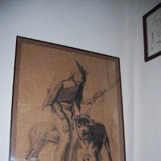 Arte: DIBUJO ORIGINAL AL CARBONCILLO - UN FOU SOUS HENRI III DE ROYBET - FRANCIA - BUFÓN Y PERROS -C.1900. Lote 94371210