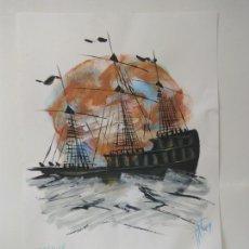 Arte: LAMINA ORIGINAL: CREPUSCLE (BARCO GOLETA AL ATARDECER). Lote 94470263